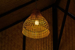 Lantern made of bamboo weave. With a home in the Thai countryside Stock Images