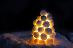 Lantern made of snow Stock Photos
