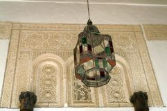 Lantern of metal and colored glass in an Arab building. royalty free stock image