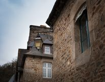 Lantern mounted in the wall of a house, Dinan, Cotes-D'Armor, Br. Ittany, France Stock Photography