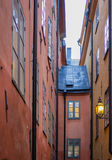 Lantern in a narrow street Royalty Free Stock Photo