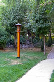 Lantern near the path in the park Royalty Free Stock Photo