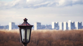 Lantern with new part of Belgrade city Royalty Free Stock Photography