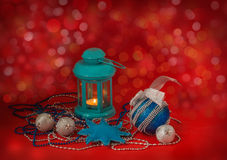 Lantern with New Year's toys Stock Photos