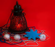 Lantern with New Year's toys Royalty Free Stock Image