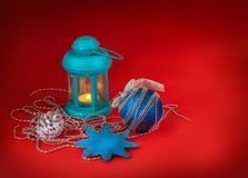 Lantern with New Year's toys Royalty Free Stock Photo
