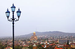 Lantern and nice view of Tbilisi stock photography