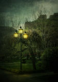 Lantern in the night city Royalty Free Stock Photo