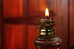 Lantern. Old-fashioned OIL Lamp in the Room Royalty Free Stock Photo