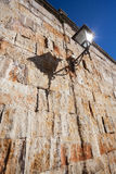 Lantern in old stone wall Royalty Free Stock Photography