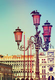 Lantern over Clock Tower in Venice. Royalty Free Stock Photography