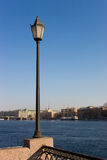 The lantern over embankment of the rive Neva Stock Photos