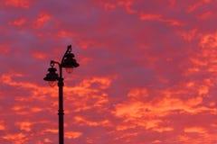 Lantern over sunset sky Royalty Free Stock Photo