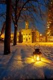 Lantern in park at night Royalty Free Stock Image