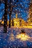 Lantern in park at night Royalty Free Stock Photo