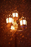 Lantern in park in winter Stock Photo