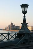 Lantern with Parliament. Sunset view; Lantern with Parliament in Budapest Stock Photography