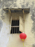 Lantern. Photo of chinese red paper lantern hanging outside window Royalty Free Stock Photos