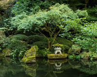 A Lantern in the Portland Japanese Garden Royalty Free Stock Photo