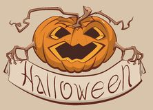 Lantern pumpkin holding a banner Halloween Royalty Free Stock Image