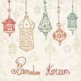 Lantern of Ramadan Kareem.Doodle card Royalty Free Stock Photo