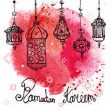 Lantern of Ramadan Kareem.Doodle.Watercolor red Royalty Free Stock Photos