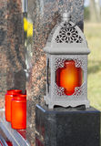 Lantern with a red candle Royalty Free Stock Images