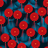 Lantern red hang blue seamless pattern Royalty Free Stock Images
