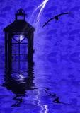Lantern Reflections. Lantern lit by a strike of lightning Stock Image