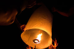 Lantern. Release of New Year`s Lantern Royalty Free Stock Photos