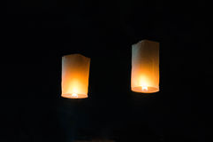 Lantern release during Yi Peng in Chiang Mai royalty free stock images