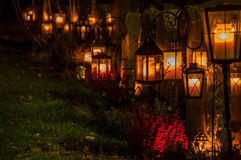 Lantern's in a graveyard Royalty Free Stock Images