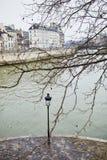 Lantern on Saint-Louis island in Paris on a winter day Stock Photo