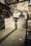 Lantern shadow on the old stonewall Stock Photo