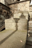 Lantern shadow on the old stonewall Stock Images