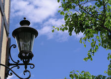 Lantern in the Sky. A composition with latern framed by leaves and wall - Buelton, California Royalty Free Stock Photos