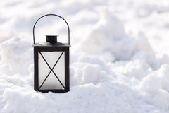 Lantern in Snow Royalty Free Stock Photos