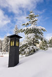 Lantern in the Snow. In Sequoia National Park, California royalty free stock image