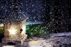 Lantern in snow flurries Royalty Free Stock Photography