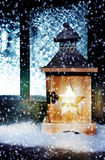 Lantern in snow flurries Stock Images