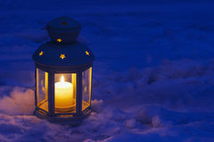 Lantern on snow Royalty Free Stock Photo