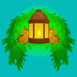 Lantern stands on the spruce branches and candle light shines warm on pine cones, vector. Illustration for a Merry Christmas and Happy New Year stock illustration
