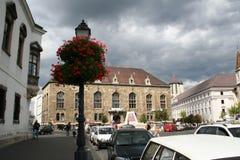 Lantern on the Street. Lantern with flowers , European Street view Stock Photography