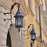 Lantern Street. Lanterns of street lighting on the wall Stock Photos