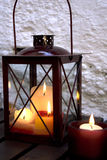 Lantern on a table. L from planks Royalty Free Stock Images