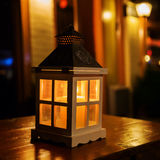 Lantern on a table at night Royalty Free Stock Images