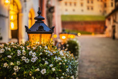 Lantern on table of street cafe. Lantern in the flowered on the table of street cafe in Krakow, Poland Stock Image