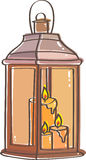 Lantern. With three candles in yellow and orange colors Royalty Free Stock Photo