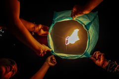 Lantern about to take off Royalty Free Stock Photography