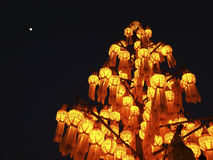 Lantern tree and the moon Royalty Free Stock Images
